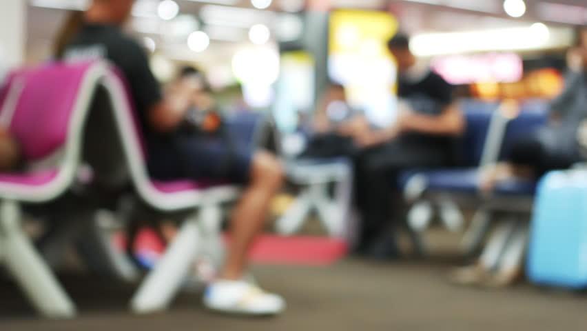 Blur passenger waiting for a flight in airport | Shutterstock HD Video #31237078