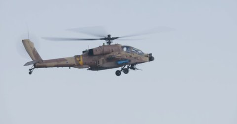 Apache military helicopter firing hellfire missile