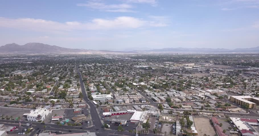 Las Vegas Aerial Panorama with city skyline, mountain and streets by the Stratosphere. | Shutterstock HD Video #31285378