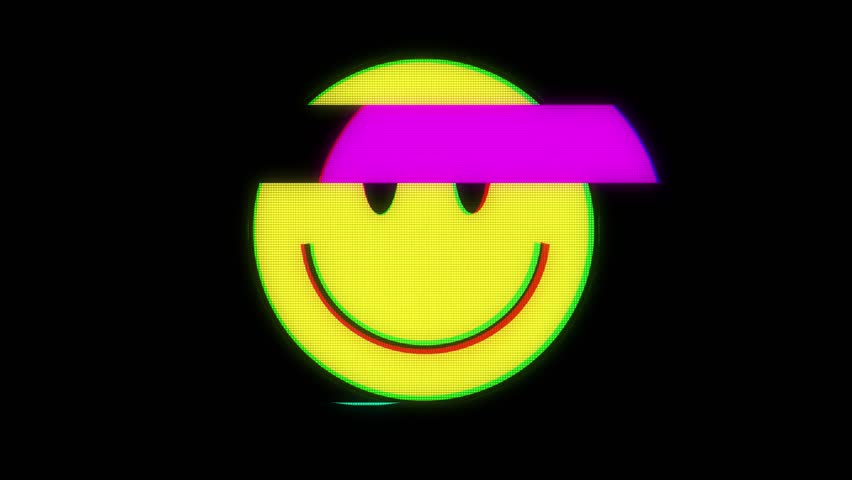 Smile hud holographic symbol on digital old tv screen seamless loop glitch interference animation new dynamic retro joyful colorful retro vintage video footage