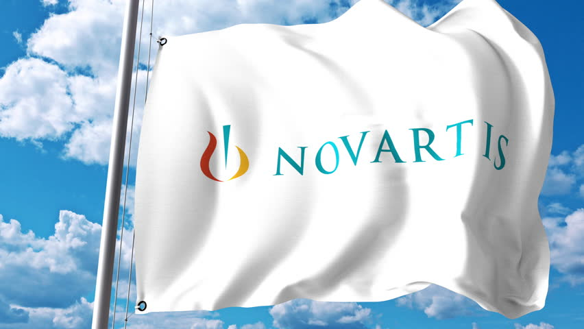 Waving flag with Novartis logo against clouds and sky. 4K editorial animation
