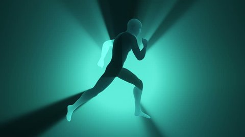 Animation of running silhouette abstract man on colorful background with light rays from shine from back. Animation of seamless loop.