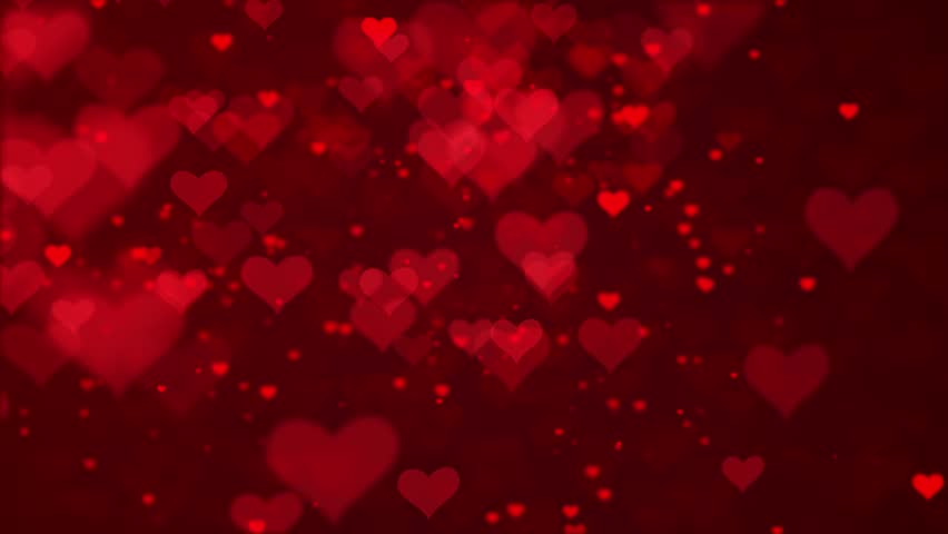 Valentine's day red Hearts and glitter lights or bokeh particles loopable abstract background.