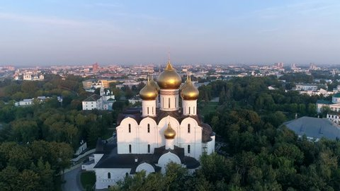 Assumption Cathedral in Yaroslavl. Aero panorama with a view of the Volga River and the central part of the city at sunrise. Summer