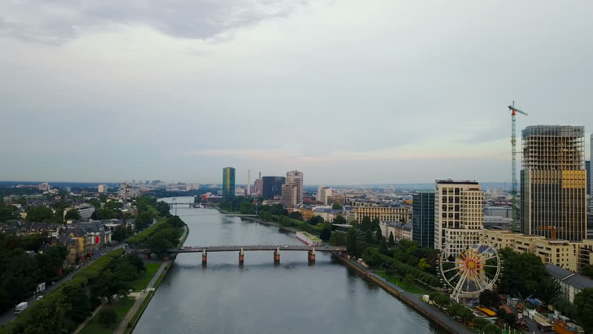 Beautiful View Of Frankfurt Am Main City With River And Houses - Frankfurt river
