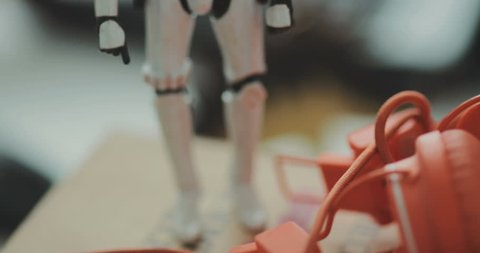 NEW YORK - April 5, 2017: Close-up toy star-wars. Black and white The back background is blurred. Shot on RED Epic Camera.