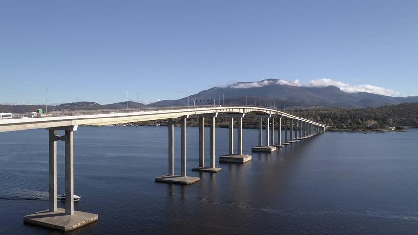 Drone aerial footage of Hobart, Tasman Bridge and Mount Wellington #31385698