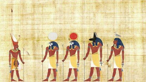 Pharaoh Consulting with Ra Geb Khonsu and Anubis
