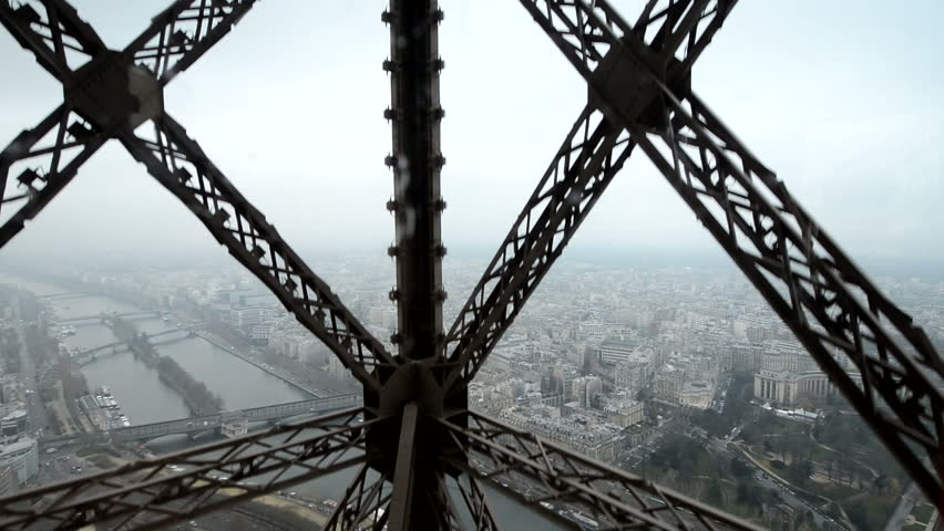 Wonderful view of Paris from moving Eiffel Tower Lift #3141631