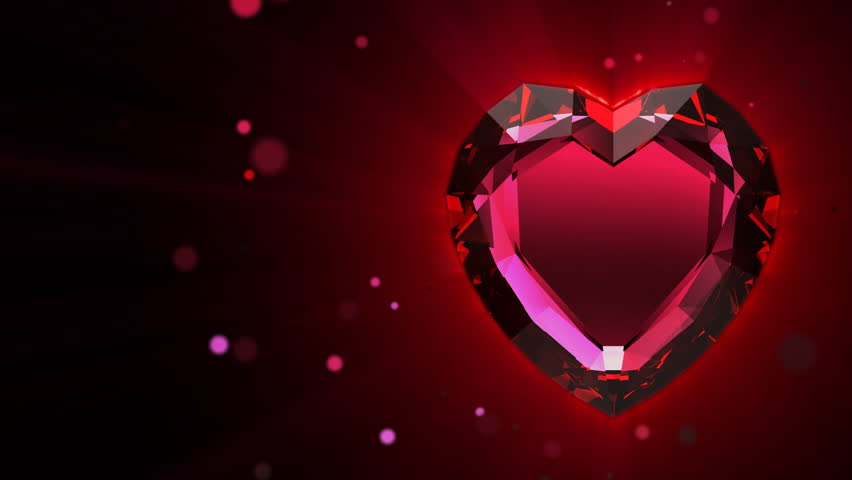 rotating ruby valentine heart on garnet background caress