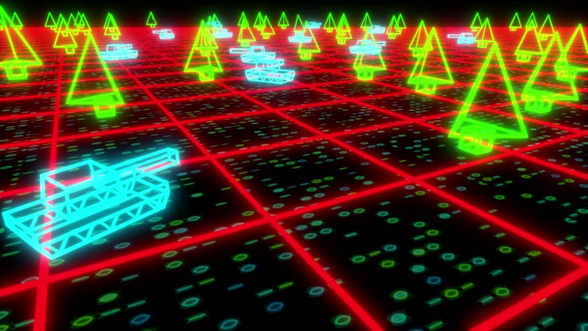 Retro 80s game tanks VHS tape video war battle vector arcade wireframe 4k