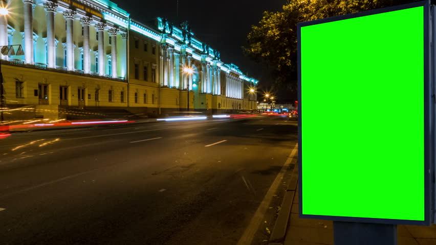 Billboard green screen on the street . time laps | Shutterstock HD Video #31421878