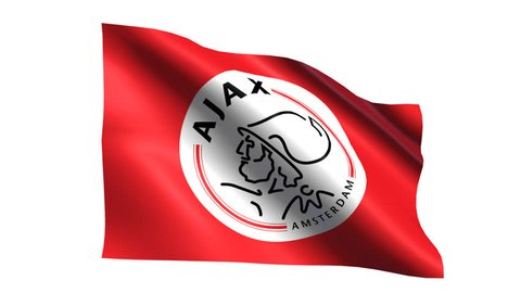 Ajax FC flag is waving on transparent background