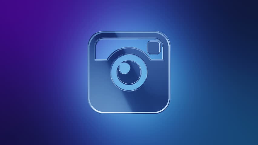 Editorial Animation: 3D rotation of symbol of Instagram logo from glass. Animation of seamless loop.