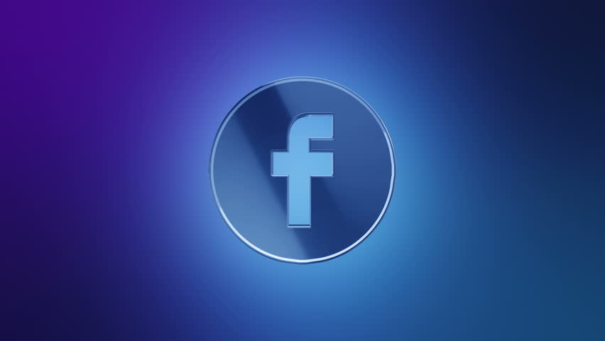 Editorial Animation: 3D rotation of symbol of Facebook logo from glass. Animation of seamless loop.