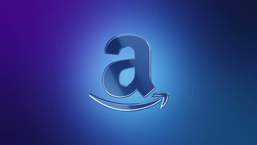 Editorial Animation: 3D rotation of symbol of Amazon logo from glass. Animation of seamless loop.