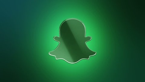 Editorial Animation: 3D rotation of symbol of Snapchat logo from glass. Animation of seamless loop.