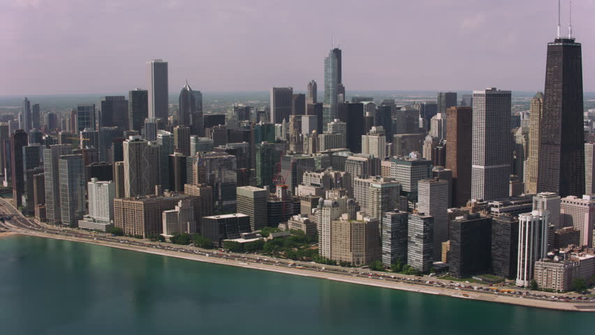 Chicago, Illinois circa-2017, Daytime aerial shot of downtown Chicago and Chicago Harbor. Shot with Cineflex and RED Epic-W Helium.