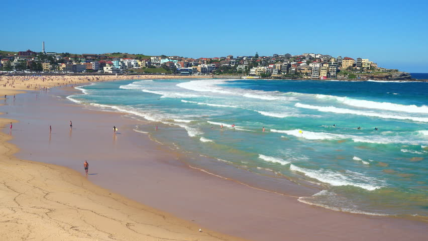 view of Bondi Beach or Bondi Bay at sunny day in Sydney