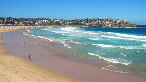 view of Bondi Beach or Bondi Bay at sunny day in Sydney