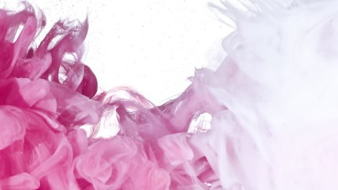 White and Pink inks are mixed in water. Use for backgrounds or overlays requiring a flowing and organic look. Amazing video asset for motion graphics projects or VFX composites.