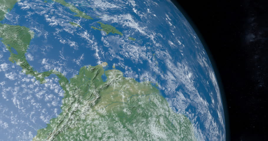 Animation of Isthmus of Panama in Central America continent in planet earth from outer space gyrating in timelapse with the universe at background