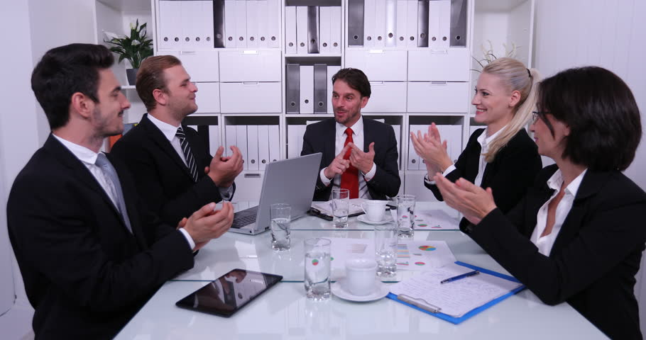 Happy Business Team Hand Applauding Success Sales Profit of Company in Boardroom | Shutterstock HD Video #31597003