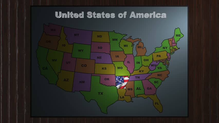USA All States Showing Up With Initials On A Green Screen