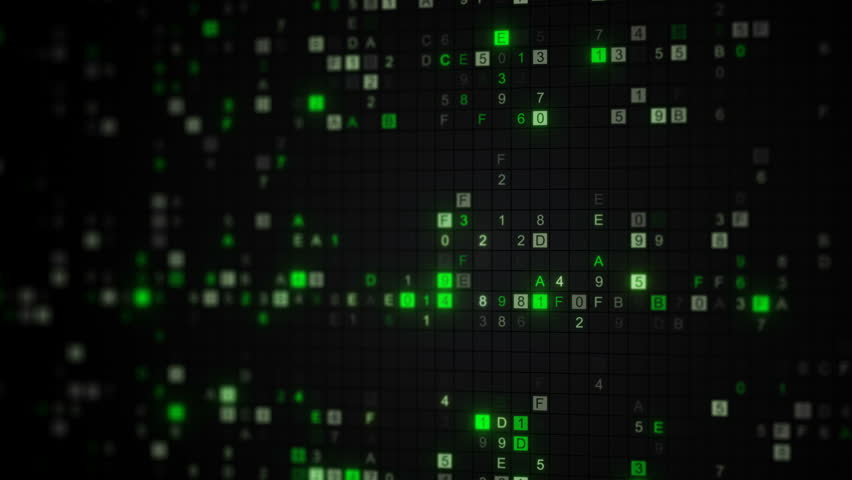 Glowing green digital code on computer screen. Computer generated seamless loop animation rendered with DOF 4k UHD (3840x2160) | Shutterstock HD Video #31599928