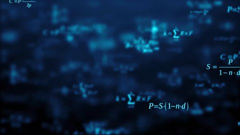 Abstract background. The camera flies past a large number of mathematical formulas on a dark background. Business concept. 3d render. Education presentation or graduation project. Loop animation