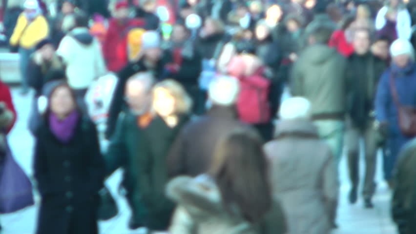 STUTTGART, GERMANY - DEC 1: A crowd of people walking in the Stuttgart Christmas Market on December 1, 2012 in Stuttgart, Germany. The Stuttgart Christmas Market is one of the largest in Europe. | Shutterstock HD Video #3163618