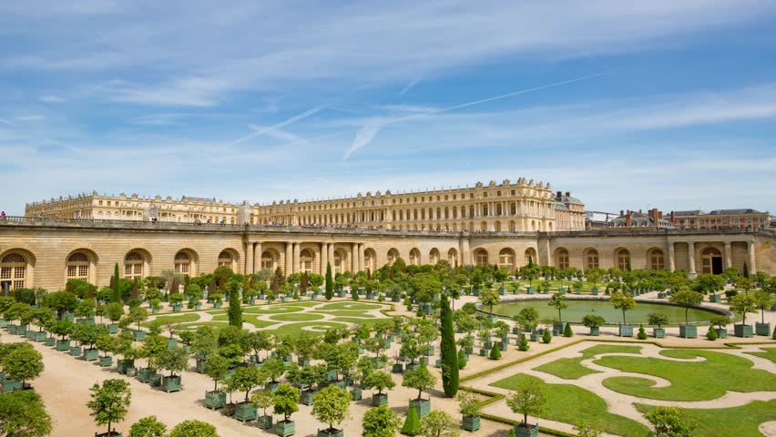 The Palace of Versailles and Garden daytime timelapse, France