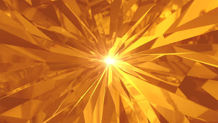 4K Abstract Gold tunnel sharp corners with reflections the camera rotates and moves forward towards the sun light. Dynamic background for project