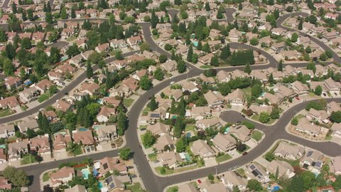 California circa-2017, Aerial shot of housing development in Northern California. Shot with Cineflex and RED Epic-W Helium.