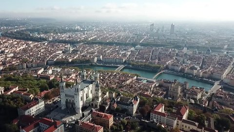 Aerial Helicopter View of Lyon France