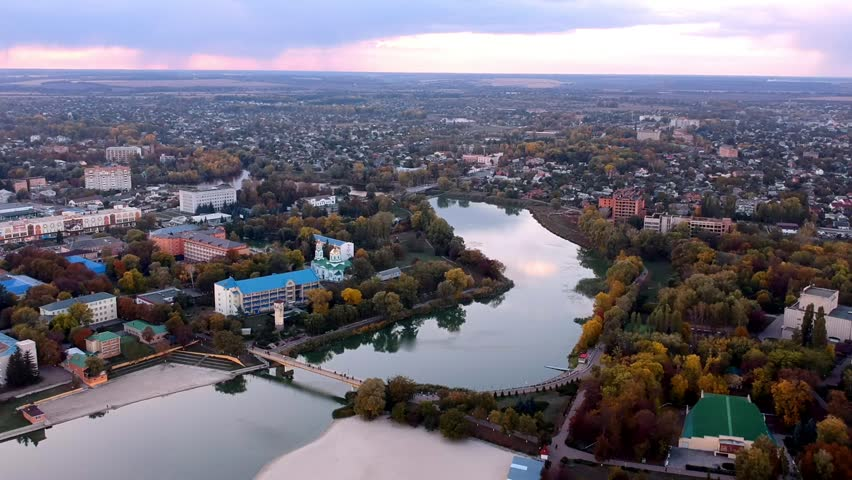 Aerial view on Mirgorod city, Ukraine. Old video style, low light evening sunset autumn footage | Shutterstock HD Video #31662448