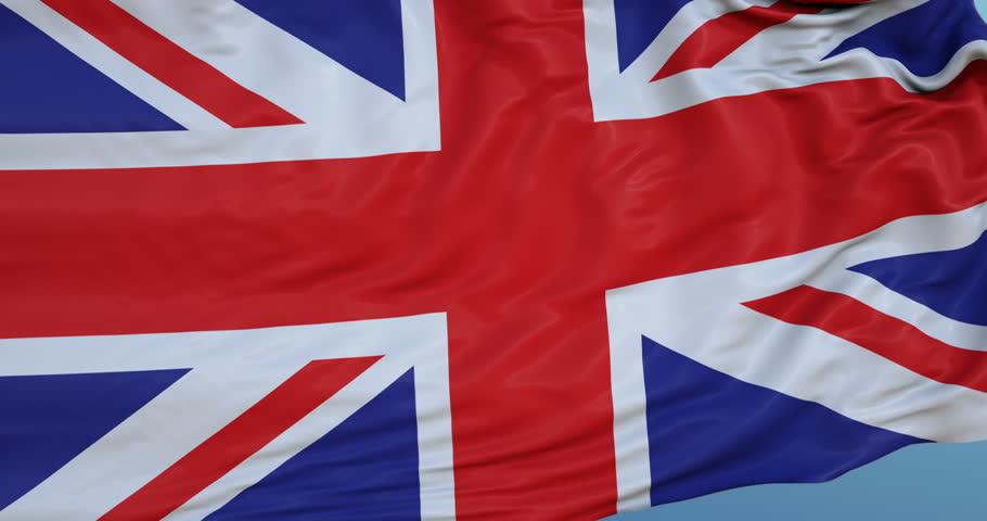 Seamlessly Looping flag for United Kingdom, blowing beautifully in the wind. Slo-Motion. Available in 4K.