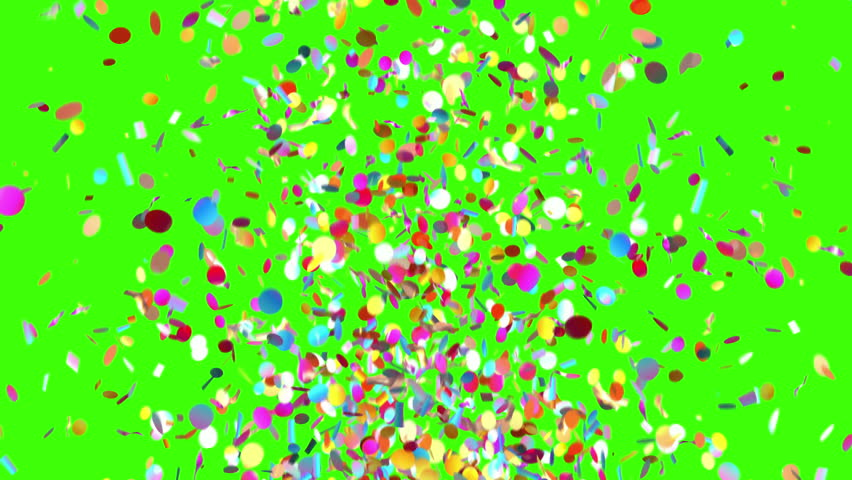 Confetti Party Popper Explosion on a Green Background. 3d animation, 4K.  | Shutterstock HD Video #31664554