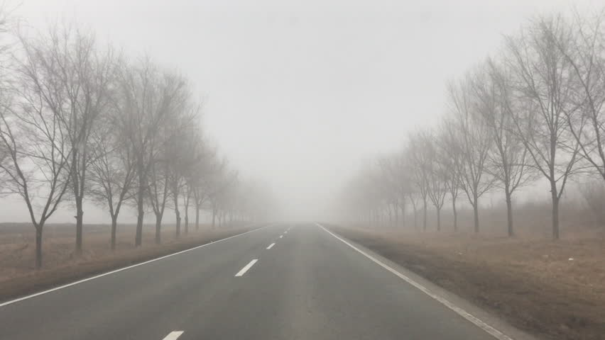 POV View drive car in rural country,fog weather