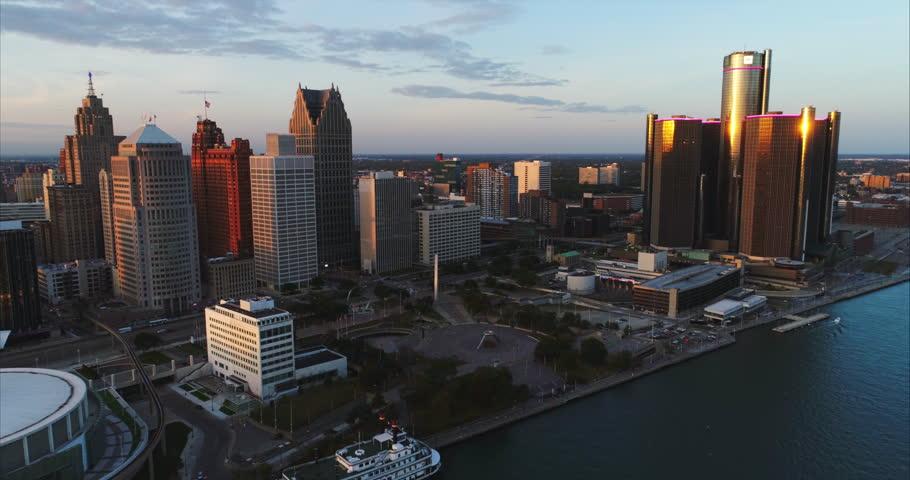 Detroit aerial cityscape