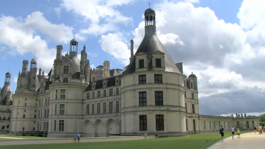 Chambord Castle, France during summer pan views