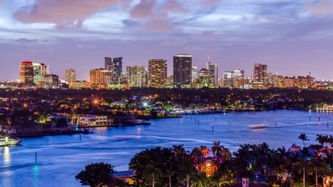 Fort Lauderdale, Florida, USA cityscape at twilight.