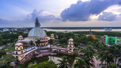 Hare Krishna temple in Mayapur, Bengal, sunset 4k time-lapse, Srila Prabhupada samadhi mandir