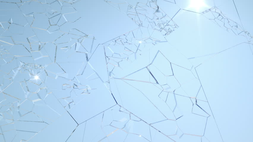 Shattered window glass with slow motion and blue sky. Alpha is included