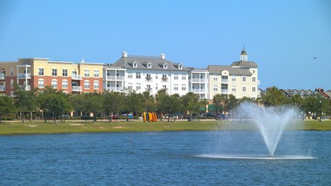 Modern Generic Myrtle Beach SC Neighborhood with Apartment Buildings in a Park Setting on a Vibrant Sunny Day at the South Carolina Vacation Destination City