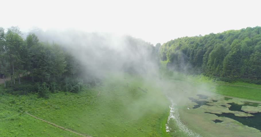 Misty Woods Flying Through The CloudsAerial Of Beautiful Forest Trees And Green Meadows