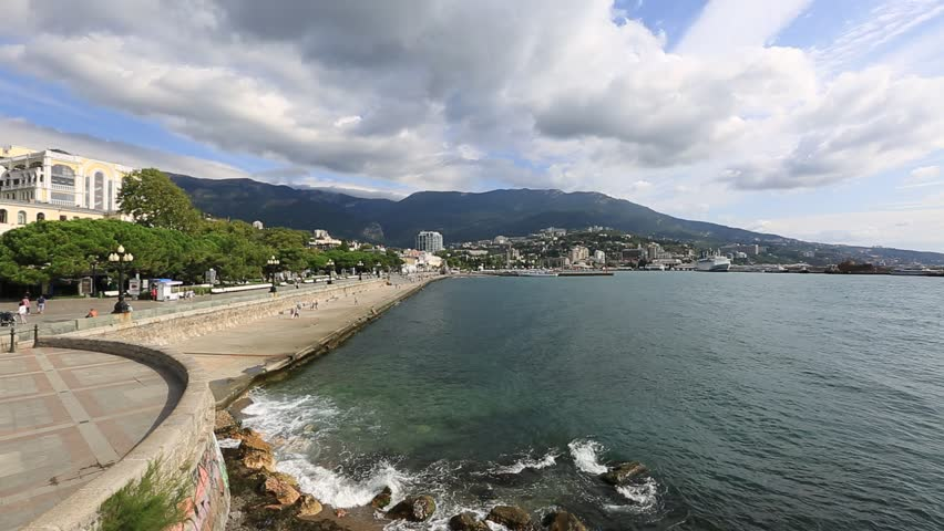 View of the embankment of the city of Yalta and the Black Sea, Crimea