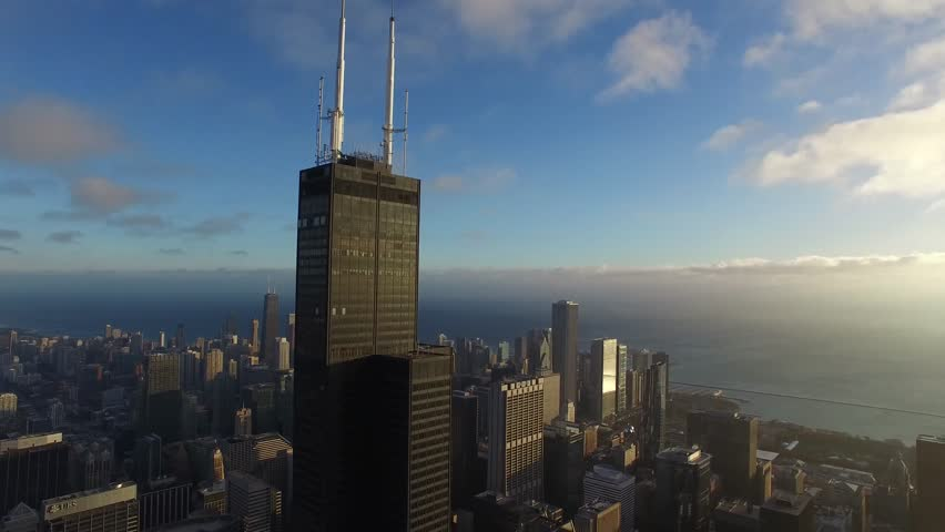 Huge Metropolis City Chicago Modern Architecture Downtown District Panorama In Majestic 4k Aerial Drone Bird Eye