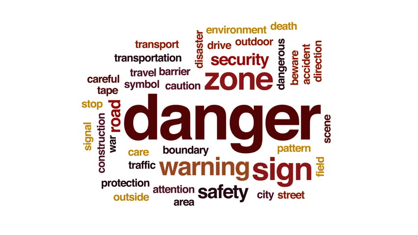 Danger animated word cloud, text design animation. #31808203