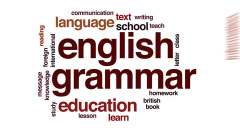English grammar animated word cloud, text design animation.